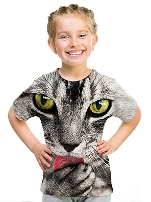 cheap Tops-Kids Girls' T shirt Tee Short Sleeve Print 3D Print Rainbow Children Tops Active Streetwear