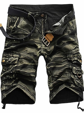 cheap Basic Shorts & Pants-Men's Streetwear Shorts Tactical Cargo Pants Camouflage Solid Color Knee Length Black Red Army Green Khaki Green