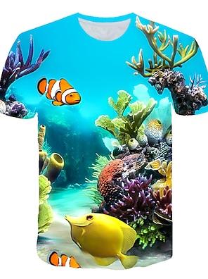 cheap Tops-Kids Toddler Boys' T shirt Tee Short Sleeve 3D Print Fish Shark Ocean Light Blue Lake blue Navy Children Tops Summer Active Streetwear Cute Children's Day 2-12 Years