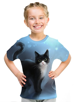 cheap Tops-Kids Girls' T shirt Tee Short Sleeve Cat 3D Animal Print Blue Children Tops Active Streetwear Cute