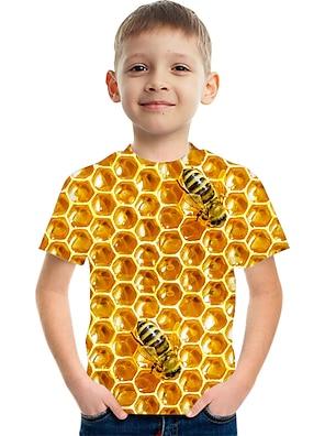 cheap Tops-Kids Boys' T shirt Tee Short Sleeve Optical Illusion Color Block 3D Print Blue Purple Red Children Tops Summer Basic Streetwear Sports Children's Day