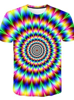 cheap Tops-Kids Boys' T shirt Tee Short Sleeve Rainbow Optical Illusion Color Block 3D Print Red Green Rainbow Children Tops Summer Basic Streetwear Sports 3-12 Years