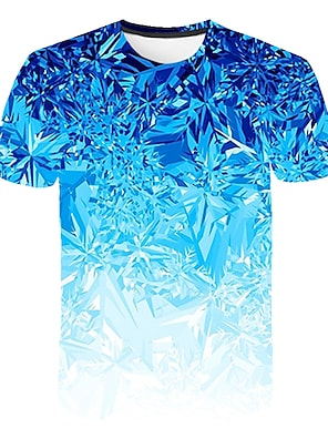 cheap Tops-Kids Boys' T shirt Tee Short Sleeve Rainbow Optical Illusion Color Block 3D Print Light Blue Children Tops Summer Basic Streetwear Sports
