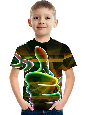 cheap Tops-Kids Boys' T shirt Tee Short Sleeve Optical Illusion Color Block 3D Unisex Print White Red Orange Children Tops Summer Basic Casual Streetwear Children's Day 2-12 Years