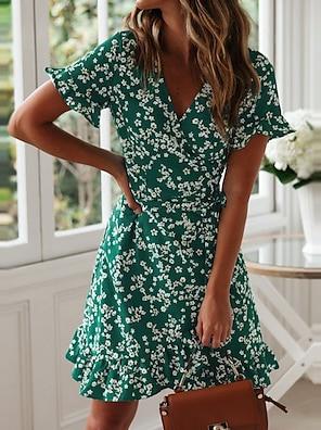 cheap Women's Dresses-Women's Wrap Dress Short Mini Dress Green Navy Blue Short Sleeve Floral Ruffle Summer Deep V Stylish Hot Holiday 2021 S M L XL XXL