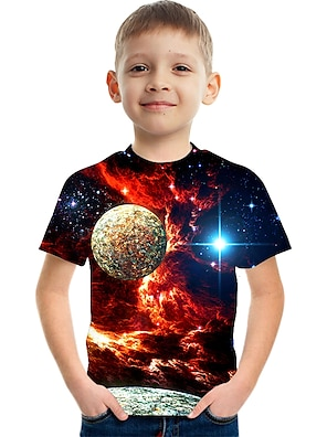 cheap Tops-Kids Boys' T shirt Tee Short Sleeve Space 3D Print Graphic Color Block Crewneck Quick Dry Unisex Blue Purple Red Children Tops Summer Basic Casual Novelty Children's Day 2-12 Years / Streetwear