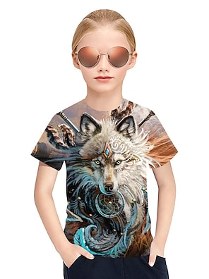 cheap Tops-Kids Girls' T shirt Tee Short Sleeve Plaid 3D Animal Gray Children Tops Summer Active Punk & Gothic Children's Day
