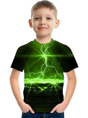 cheap Tops-Kids Boys' T shirt Tee Short Sleeve Optical Illusion Color Block 3D Print Green Children Tops Summer Active Streetwear Sports Children's Day