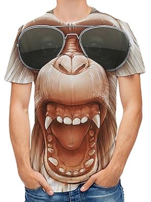 cheap Men's Tops-Men's Tee T shirt 3D Print Graphic 3D Monkey Orangutan Plus Size Print Short Sleeve Daily Tops Rock Streetwear Round Neck Yellow Blushing Pink Gold / Spring / Summer / Club