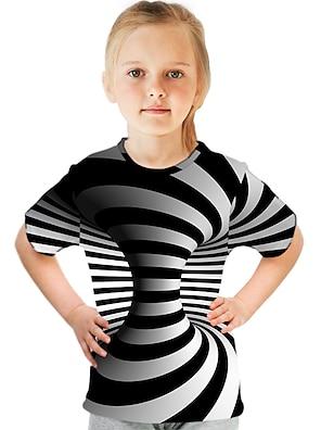 cheap Tops-Kids Girls' T shirt Tee Short Sleeve Optical Illusion Color Block 3D Print Black Children Tops Summer Active Streetwear Sports Children's Day