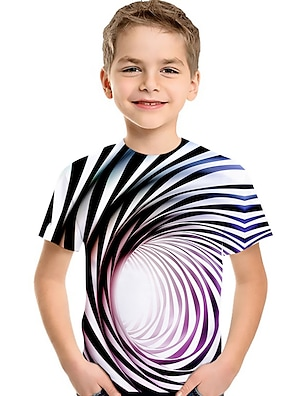 cheap Tops-Kids Toddler Boys' T shirt Tee Short Sleeve Blue & White Striped Optical Illusion Color Block Geometric Print Purple Red Green Children Tops Summer Active Basic Streetwear Children's Day