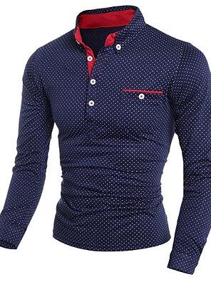 cheap Men's Polos-Men's Polo Polka Dot Print Long Sleeve golf shirts Slim Tops Shirt Collar White Black Navy Blue