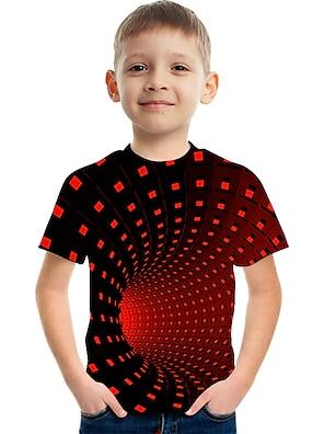 cheap Tops-Kids Boys' T shirt Tee Short Sleeve 3D Print Rainbow Optical Illusion Color Block Light Yellow Deep Purple Red Children Tops Summer Basic Streetwear Sports 3-12 Years
