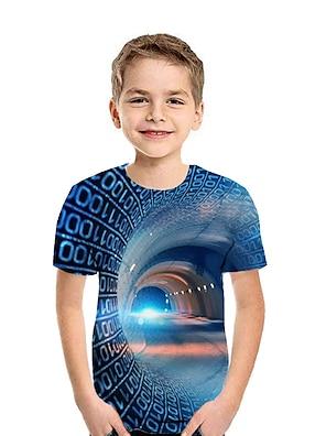 cheap Tops-Kids Boys' T shirt Tee Short Sleeve Patchwork Geometric 3D Print Rainbow Children Tops Summer Active Streetwear New Year