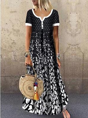 cheap Women's Dresses-Women's Swing Dress Maxi long Dress Black Short Sleeve Black & White Polka Dot Leaf Button Print Summer Round Neck Hot Casual Holiday 2021 M L XL XXL 3XL / High Waist
