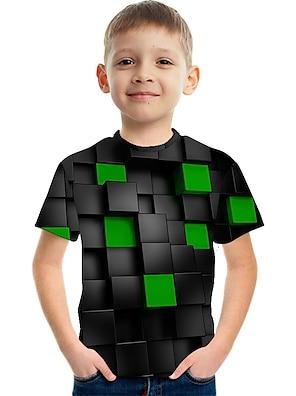 cheap Tops-Kids Boys' T shirt Tee Short Sleeve Color Block 3D Print Green Children Tops Summer Active Streetwear Children's Day