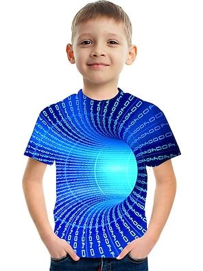 cheap Tops-Kids Boys' T shirt Tee Short Sleeve 3D Print Graphic Optical Illusion Color Block Crewneck Unisex Light Yellow Lake blue Navy Children Tops Summer Basic Streetwear Funny Causal 3-12 Years