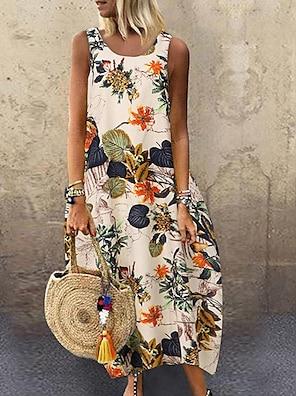 cheap Women's Dresses-Women's Loose Maxi long Dress Red Yellow Navy Blue Sleeveless Floral Leaf Print Summer Round Neck Hot Boho 2021 M L XL XXL 3XL 4XL 5XL / Plus Size
