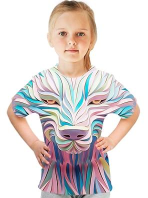 cheap Tops-Kids Girls' T shirt Tee Short Sleeve Color Block 3D Animal Print Blue Children Tops Summer Active Streetwear Children's Day