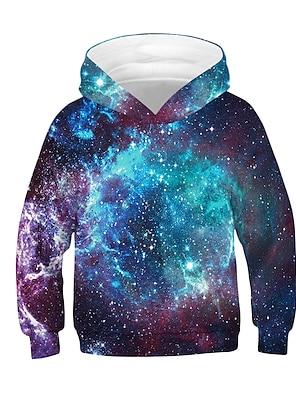 cheap Tops-Kids Boys' Hoodie & Sweatshirt Long Sleeve Galaxy Color Block 3D Black Children Tops Active Basic