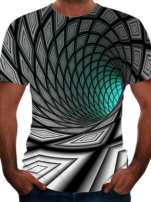 cheap Men's Tops-Men's Tee T shirt Shirt 3D Print Graphic Optical Illusion Plus Size Short Sleeve Athletic Tops Basic Elegant Green