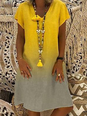 cheap Women's Dresses-Women's Shift Dress Knee Length Dress Red Yellow Navy Blue Light Blue Short Sleeve Color Gradient Color Block Summer V Neck Hot Casual 2021 S M L XL XXL 3XL / Loose