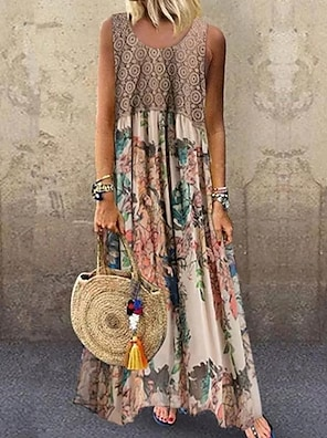 cheap Women's Dresses-Women's Swing Dress Maxi long Dress Beige Sleeveless Floral Geometic Print Spring Summer Round Neck Hot Casual Holiday 2021 S M L XL XXL 3XL 4XL 5XL