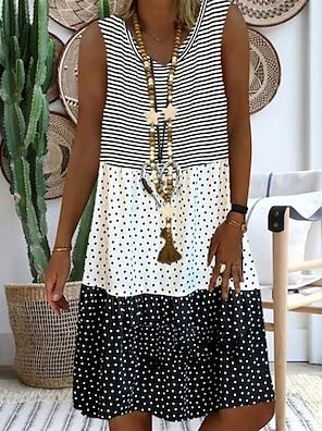 cheap Women's Dresses-Women's A Line Dress Knee Length Dress Black Red Yellow Blushing Pink Sleeveless Polka Dot Summer Round Neck Hot Casual 2021 S M L XL XXL 3XL 4XL 5XL / Plus Size