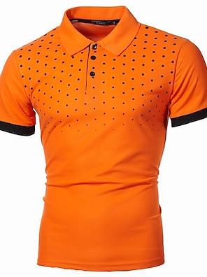cheap Men's Polos-Men's Polo Polka Dot Graphic Plus Size Print Short Sleeve Daily Tops Basic Streetwear Shirt Collar White Blue Wine / Work