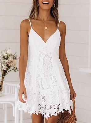 cheap Women's Dresses-Women's Strap Dress Short Mini Dress White Sleeveless Solid Color Lace Summer V Neck Sexy Lace 2021 S M L XL XXL 3XL