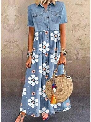 cheap Women's Dresses-Women's Denim Shirt Dress Maxi long Dress Blue Short Sleeve Floral Pocket Button Summer Shirt Collar Chic & Modern Casual 2021 M L XL XXL 3XL