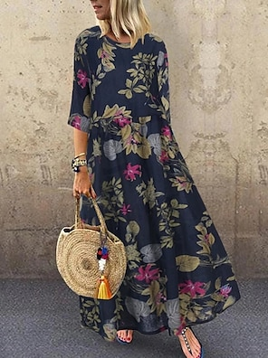 cheap Women's Dresses-Women's A Line Dress Maxi long Dress Red Yellow Navy Blue Short Sleeve Floral Print Spring Summer Round Neck Hot Casual Holiday vacation dresses Loose 2021 M L XL XXL 3XL 4XL 5XL / Plus Size