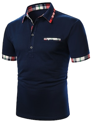 cheap Men's Polos-Men's Polo Solid Colored Patchwork Short Sleeve Daily Tops Cotton Basic Casual / Sporty Daily Navy Blue