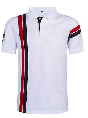 cheap Men's Polos-Men's Polo Striped Short Sleeve Sports & Outdoor Tops Casual / Daily Casual / Sporty Shirt Collar White Red Navy Blue