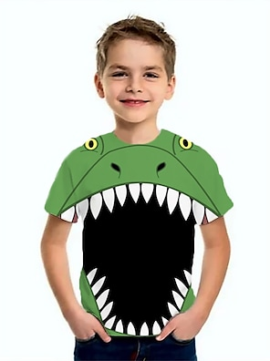 cheap Tops-Kids Boys' T shirt Tee Short Sleeve Dinosaur Cartoon Animal Print Khaki Green Light Green Children Tops Summer Basic Cool