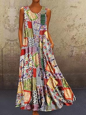 cheap Women's Dresses-Women's A Line Dress Maxi long Dress Khaki Sleeveless Tribal Geometic Color Block Summer Round Neck Hot Casual Mumu 2021 M L XL XXL 3XL 4XL 5XL