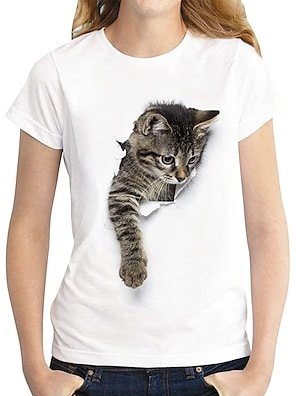 billige Dametopper-Dame T skjorte Katt Grafisk 3D Trykt mønster Rund hals Grunnleggende Topper 100 % bomull Mørkebrun Katt Hvit katt