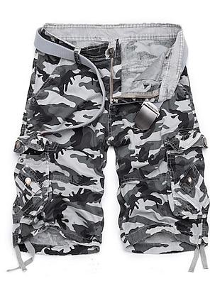 cheap Basic Shorts & Pants-Men's Basic Daily Shorts Tactical Cargo Pants Solid Colored Knee Length Army Green Fuchsia Khaki Green Light gray