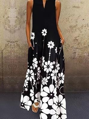 cheap Women's Dresses-Women's A Line Dress Maxi long Dress Black Sleeveless Floral Print Summer V Neck Chic & Modern Hot Casual Loose 2021 S M L XL XXL 3XL 4XL 5XL