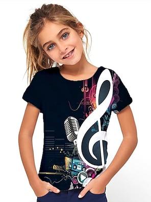 cheap Dresses-Kids Girls' T shirt Tee Short Sleeve Geometric Print Black Children Tops Basic Holiday