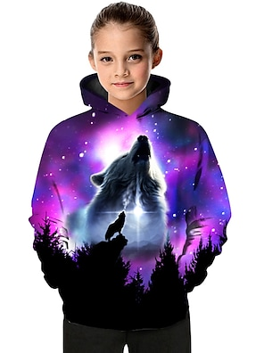 cheap Tops-Kids Toddler Girls' Hoodie & Sweatshirt Long Sleeve Wolf Color Block Geometric Animal Print Purple Children Tops Active Basic Christmas