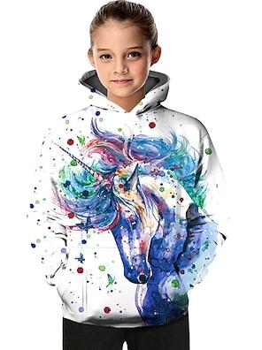 cheap Tops-Kids Toddler Girls' Hoodie & Sweatshirt Long Sleeve Unicorn Color Block Geometric Tie Dye Print White Blue Purple Children Tops Active Basic Christmas