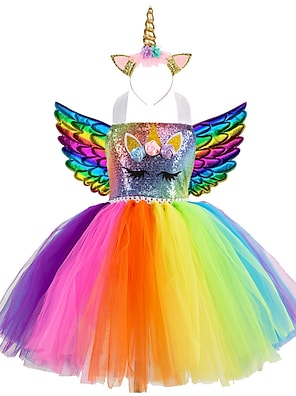 cheap Dresses-Kids Little Girls' Dress Unicorn Rainbow Patchwork Birthday Party Sequins Lace up Patchwork Colorful Blue Gold Knee-length Sleeveless Active Costumes Cute Dresses Easter Regular Fit