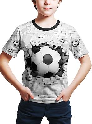cheap Tops-Kids Toddler Boys' T shirt Tee Short Sleeve Geometric 3D Football Print White Purple Red Children Tops Summer Active Streetwear Children's Day 2-12 Years