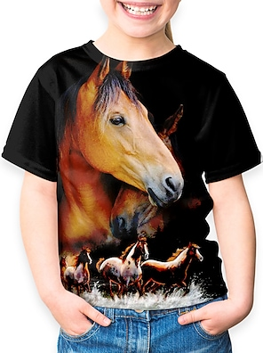 cheap Tops-Kids Girls' T shirt Tee Short Sleeve Horse Unicorn Animal Print Black Children Tops Basic Holiday Cute