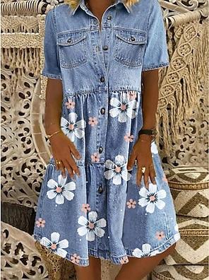 cheap Women's Dresses-Women's Denim Shirt Dress Knee Length Dress Blue Short Sleeve Floral Pocket Button Summer Shirt Collar Chic & Modern Casual 2021 M L XL XXL 3XL