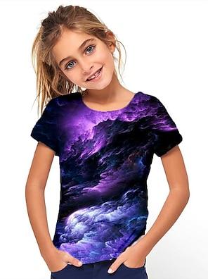 cheap Tops-Kids Girls' T shirt Tee Short Sleeve Jacquard Optical Illusion Color Block Black Children Tops Summer Basic Holiday Streetwear