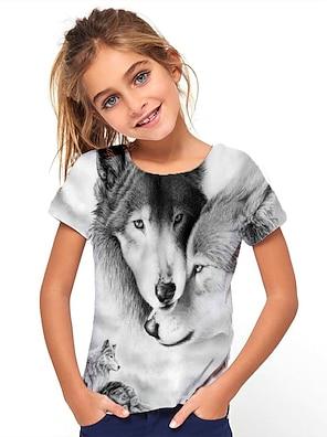 cheap Tops-Kids Girls' T shirt Tee Short Sleeve Geometric Print Gray Children Tops Basic Holiday