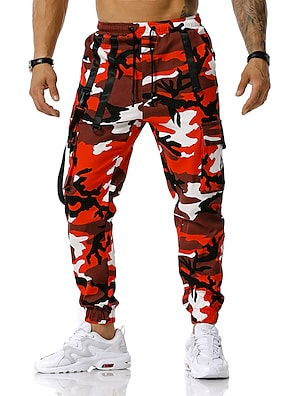 cheap Print Shorts & Trousers-Men's Tactical Cargo Pants Camouflage Full Length Trousers Sweatpants Running Blue Red Orange Green Light gray