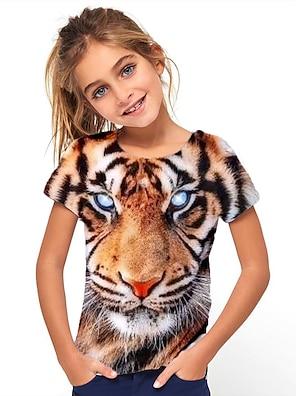 cheap Tops-Kids Girls' T shirt Tee Short Sleeve Tiger Animal Yellow Children Tops Summer Basic Holiday